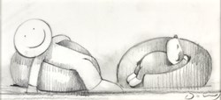 The Good Old Days III (study) by Doug Hyde - Original Drawing on Mounted Paper sized 7x3 inches. Available from Whitewall Galleries